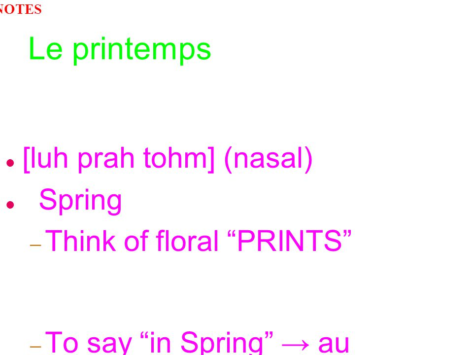 Le printemps [luh prah tohm] (nasal) Spring Think of floral PRINTS